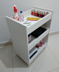 Carrinho Auxiliar P/manicure,estética, C/3 Bandejas Mdf