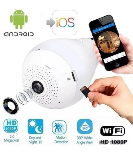 Camara Bombillo Ip Wifi 1080p 360º Modo Nocturno + Memo 64gb