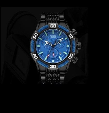 Relógio Temeite Preto E Azul Similar Ao Invicta T025g-6