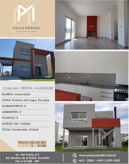 Casa - Alquiler - Venta - 5 Ambientes - Araucarias - Puertos Del Lago - Escobar