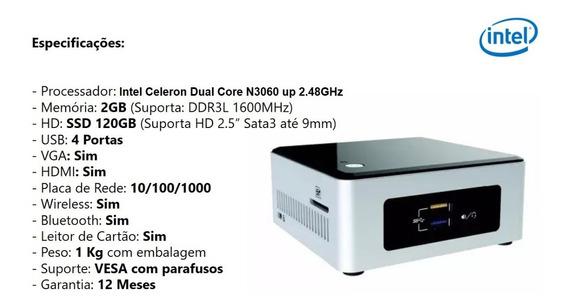 Mini Pc Nuc Intel Celeron N3060 1.6ghz Up 2.4gh 2gb Ssd120gb