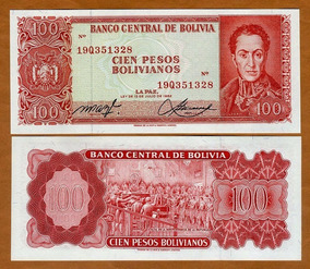 Bolívia 100 Pesosbolivianos 1983 P. 164a Fe Cédula Tchequito