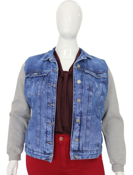 Jaqueta Jeans Feminina Plus Size Forrada Com Pelinho Cambos