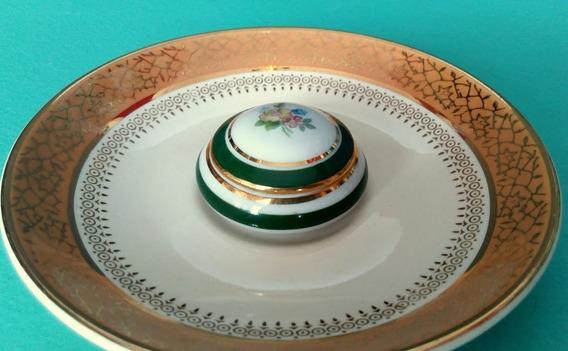 Pequeño Pastillero Porcelana Limoges Flores Vivos Verde Oro