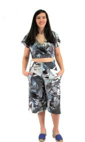 Conjunto Feminino Cropped Calça Pantacourt Pantalona Barato