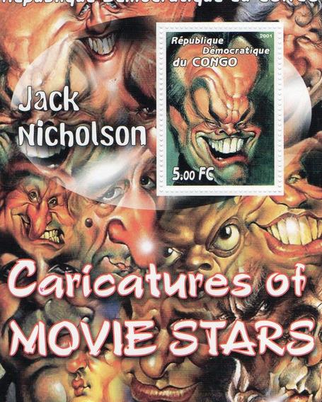 Caricatura De Jack Nicholson - Hoja Con Estampilla Del Congo