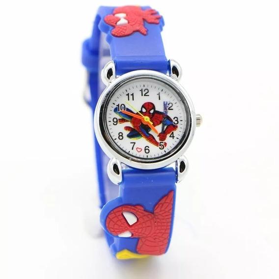 Relógio Pulso Infantil Menino Homem Aranha Azul Frete Grátis