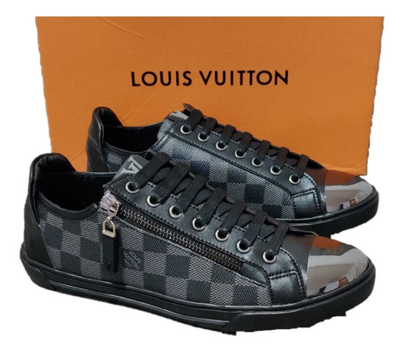 Sneakers Louis Vuitton Damier Black Punta Metal,envío Gratis