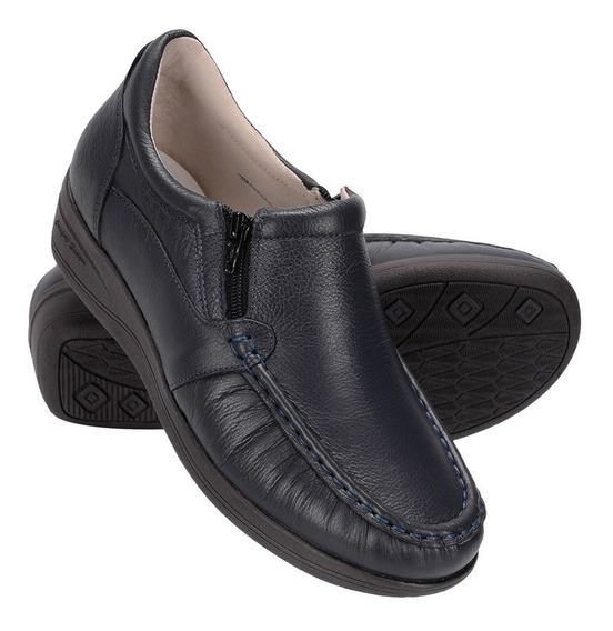 Sapato Feminino Ortopédico 100% Couro Legítimo Anti Stress