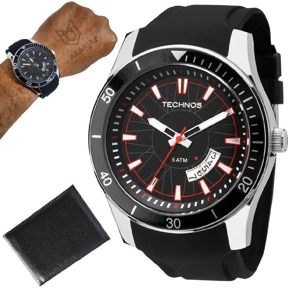 Relógio Masculino Technos Pulseira Borracha Sport + Carteira