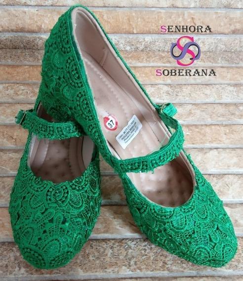 Sapato Arredondado(salto Grosso)renda Verde Bandeira(noivas)
