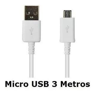 Cabo Dados Carregador Micro Usb 3metros Moto G Xt1032 Xt1033