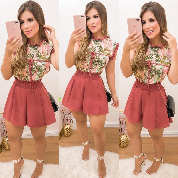 Conjunto Feminino Blusa E Short Moda Roupas Femininas Unico