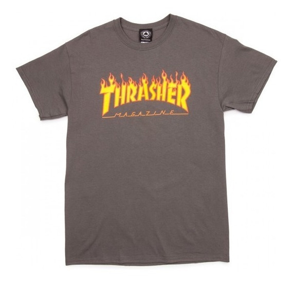 Playera Thrasher Flame Logo Gris Charcoal Original