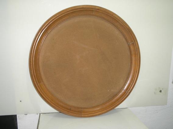 Antiga Grande Moldura De Espelho Redondo 58 Cm Em Cerejeira