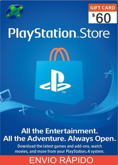 Cartão Psn Playstation Network Card $60 Dólares ($50+$10) Us