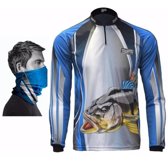 Camiseta De Pesca + Bandana De Proteção ) Uv 50+ / 27