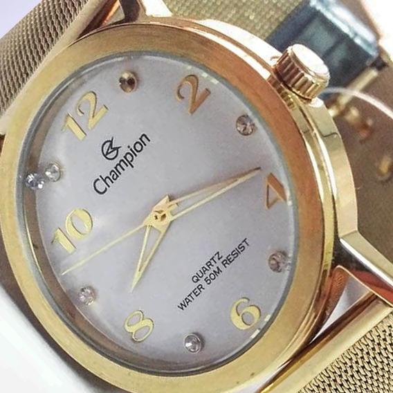 Relógio Ajustável De Pulso Analógico Champion Feminino De Ponteiro Dourado Original Com Garantia Tamanho G 21 Cm