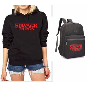 Mochila Escolar Stranger Things Juvenil Kit Blusa Qualidade