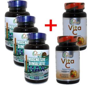 3 Magnesio Dimalato Puro 800mg (120 Caps Por Pote) + Vita C