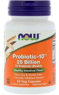Probiotico Probiotic-10 25 Bilhões 50cp Now Lactobacilos Pb8