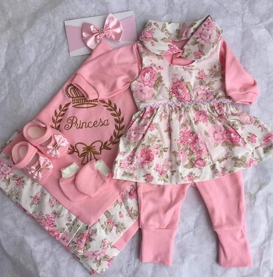 Kit Saida Maternidade 6 Peças Luxo Enxoval Menina Bebe Linda
