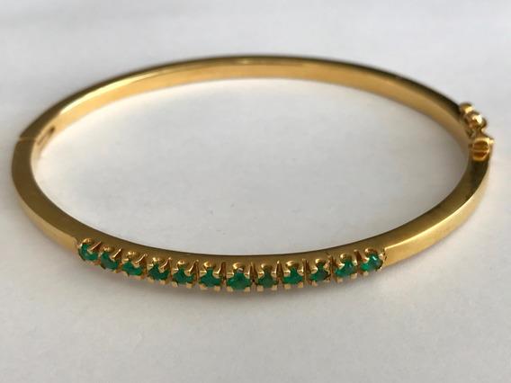 Pulseira Em Ouro 18k Com Pedras Safira Verde - Peso: 11.9 G