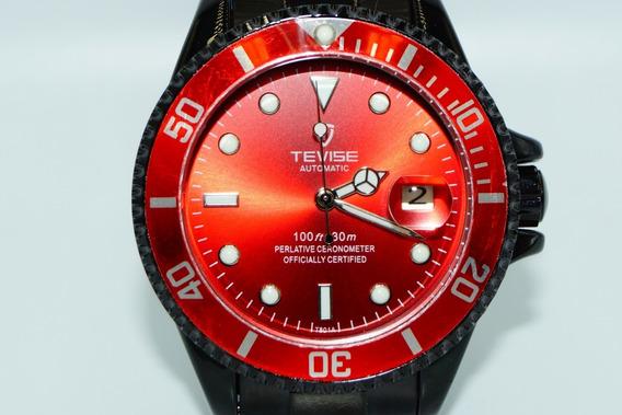 Relógio Masculino Mecânico Automático Tevise Red