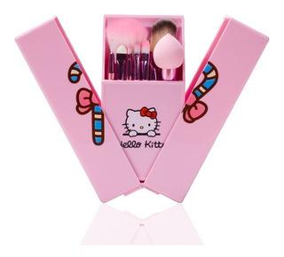 8 Brochas Hello Kitty Con Estuche Y Espejo Sweet Rosa Kawai