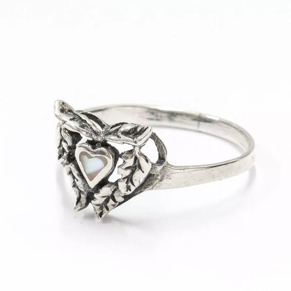 Anel Prata 925 - Coração Madrepérola Delicado