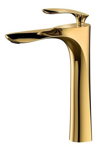 Imagen 1 de 10 de Llave Grifo Monomando Lavabo Ovalin Oro Pulido Dorado Gami