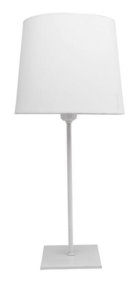 02x Abajour Led 50cm Luminária Branco Metal Mesa Quart