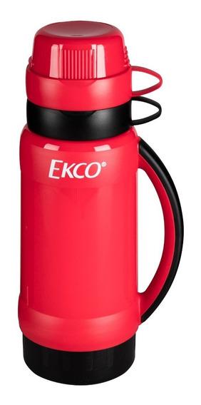 Termo De 1l. Ekco Polaris Ampolla De Vidrio Rojo Y Negro