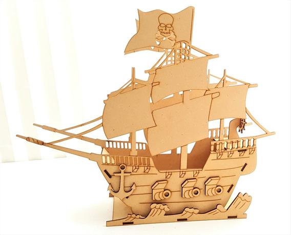 6 Barcos Pirata Mdf Centro De Mesa Bpg Con Nombre