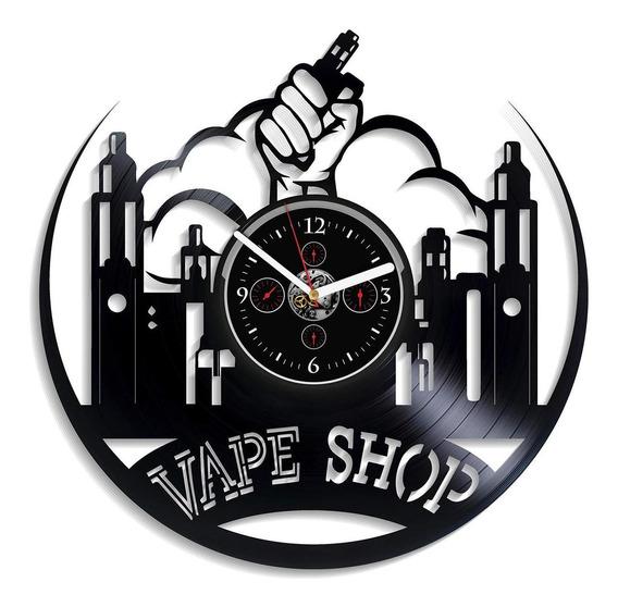 Kovides Vape Shop Wall Clock Vintage Vinyl Record Retro -7q9