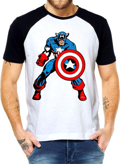 Camiseta Personalizada Manga Raglan Capitão América F