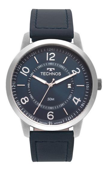Relógio Technos Masculino Prateado Prata Classic Steel 2115mst/0a Couro Azul Marinho T48 Original