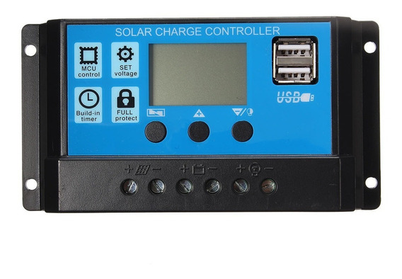 Controlador De Carga Painel Solar 30a 12v/24v 2 Usb