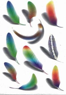 Tatuajes Temporales Modelo Plumas 3d De Colores