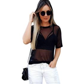 84f20e38c Blusa Camisa Tule Transparente + Top Cropped Brinde91