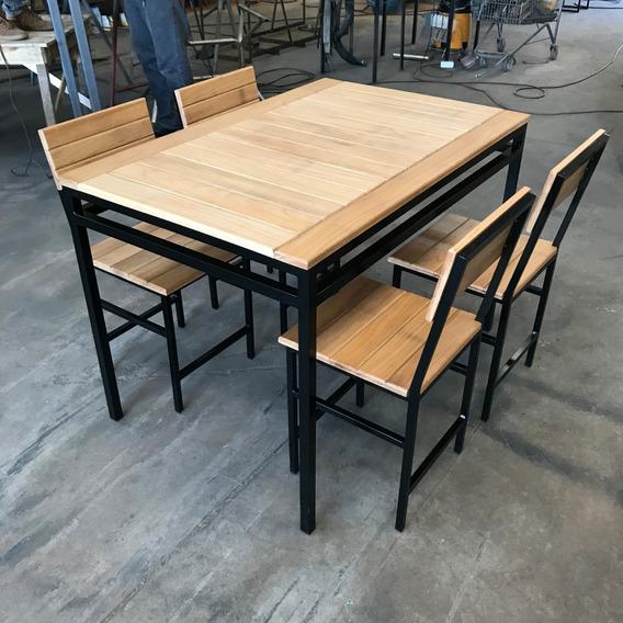 Mesa Com 4 Cadeiras Em Ferro E Madeira
