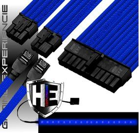 Kit Cabo Sleeve Extensor Gamer 24p 2x8p 2x Sata Fita Led Top
