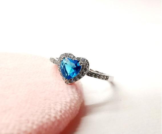 Anillo Corazón Azul Plata Ley 925 Con Zirconia Caja Regalo
