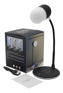 Luminaria Caixa De Som Bluetooth E Carregador 3 Em 1 Sem Fio