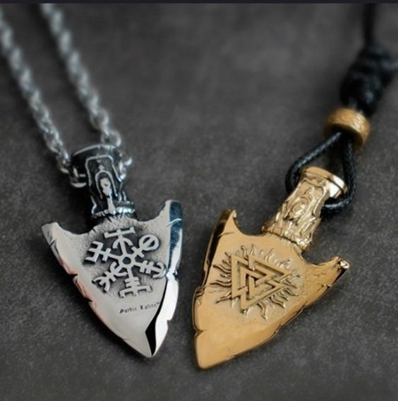 Colar Viking Nórdico Flecha Rúnica Odin