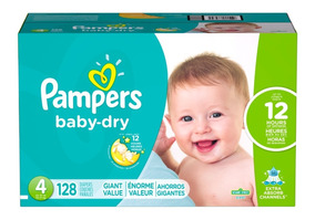 Pañales Pampers Baby Dry, Talla 4, 128 Pzs