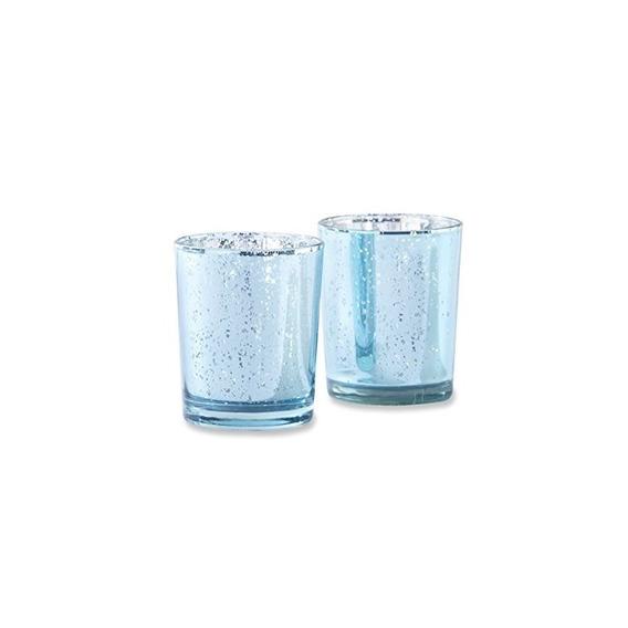 Kate Aspen Mercury Glass Tealight Holders (set De 4), Azul C