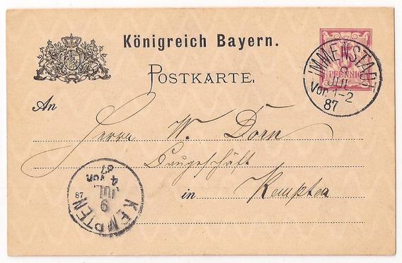 Alemania Immenstadt Baviera Poskarte Año 1887