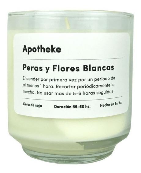 Vela Aromática Deco De Soja Natural Peras Y Flores Blancas