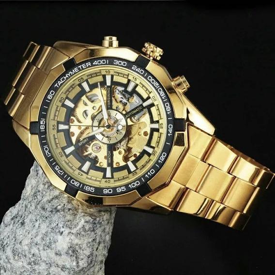 Relógio Automático Mecânico Turbilhão Dourado Esqueleto Ouro